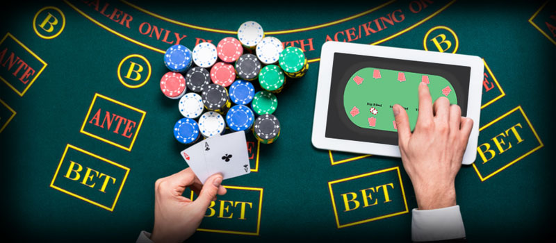 Online Poker Table Chips on the table